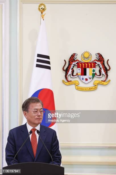 President of South Korea Moon Jaein and Prime Minister of Malaysia Mahathir Mohamad hold a joint press conference in Putrajaya Malaysia on March 13...