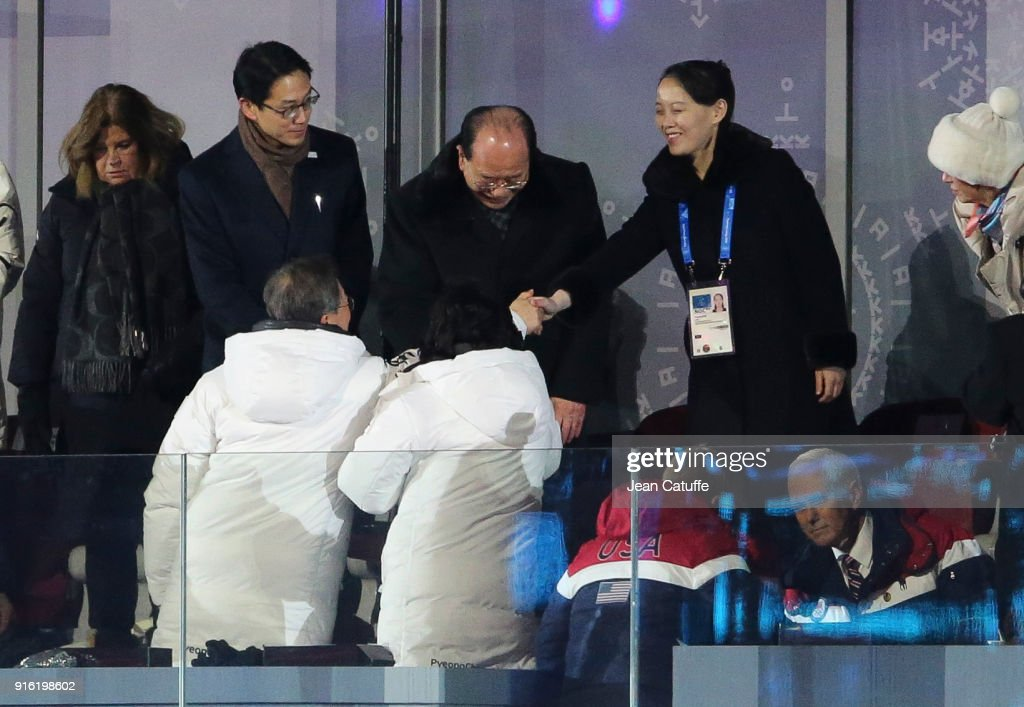 President of South Korea Moon Jae-in, his wife Kim Jung-sook greet President of North Korea Kim Yong-nam and Kim Yo-jong, sister of President of North Korea Kim Jong-un during the Opening Ceremony of the PyeongChang 2018 Winter Olympic Games at PyeongChang Olympic Stadium on February 9, 2018 in Pyeongchang-gun, South Korea.