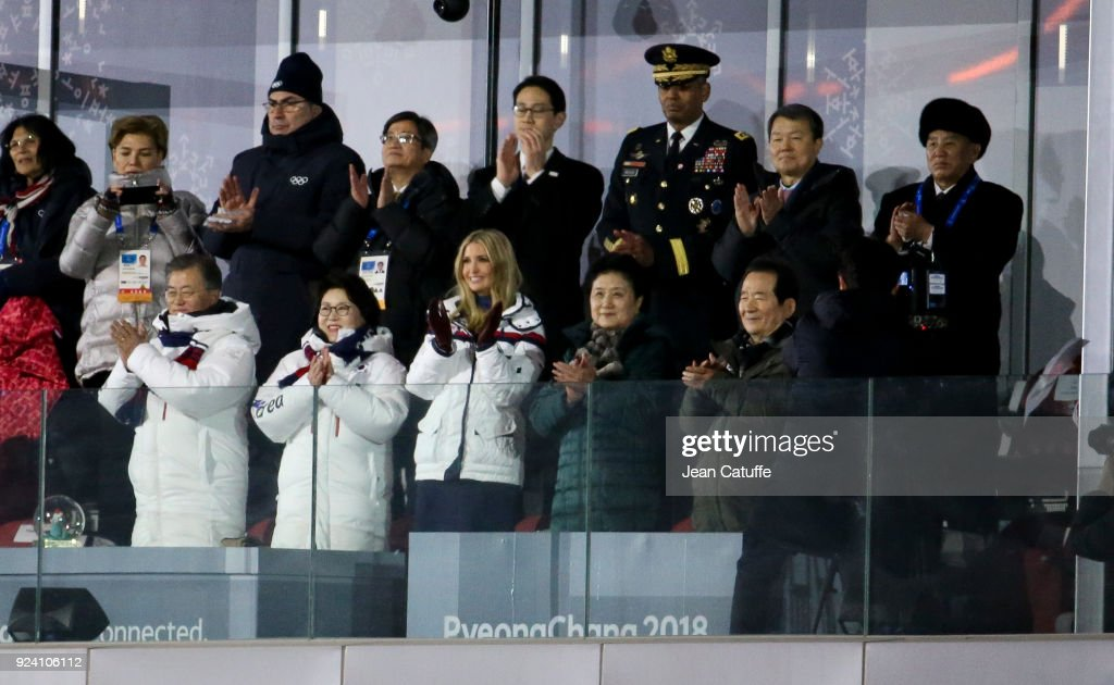 President of South Korea Moon Jae-in, his wife Kim Jung-sook, Ivanka Trump, top right General Kim Yong Chol of North Korea (he has his credential on) attend the closing ceremony of the 2018 PyeongChang Winter Olympic Games at PyeongChang Olympic Stadium on February 25, 2018 in Pyeongchang-gun, South Korea.