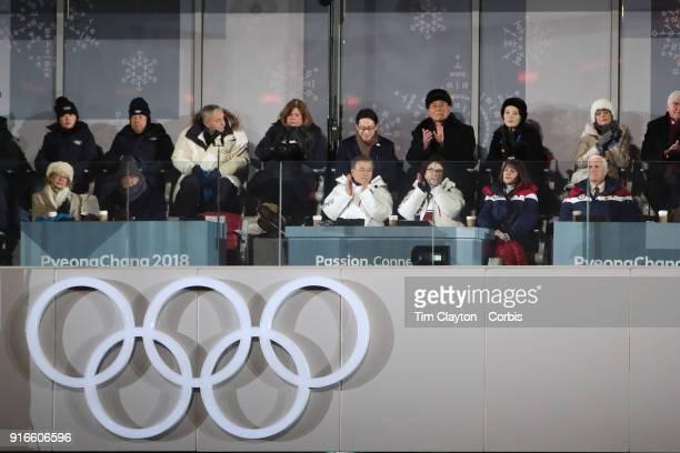President of South Korea Moon Jaein his wife Kim Jungsook Karen Pence Mike Pence VicePresident of USA above them President of North Korea Kim Yongnam...