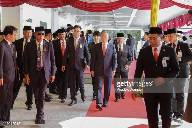 President of South Korea Moon Jaein leaves parliament building during a welcoming ceremony at the Parliament in Kuala Lumpur on March 13 2019...