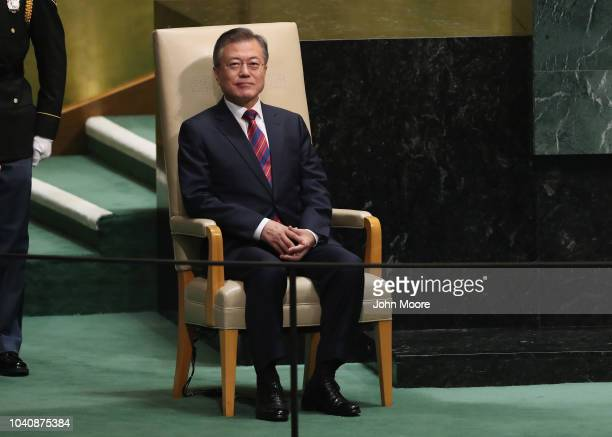 President of South Korea Moon Jaein prepares to address the United Nations General Assembly on September 26 2018 in New York City World leaders...