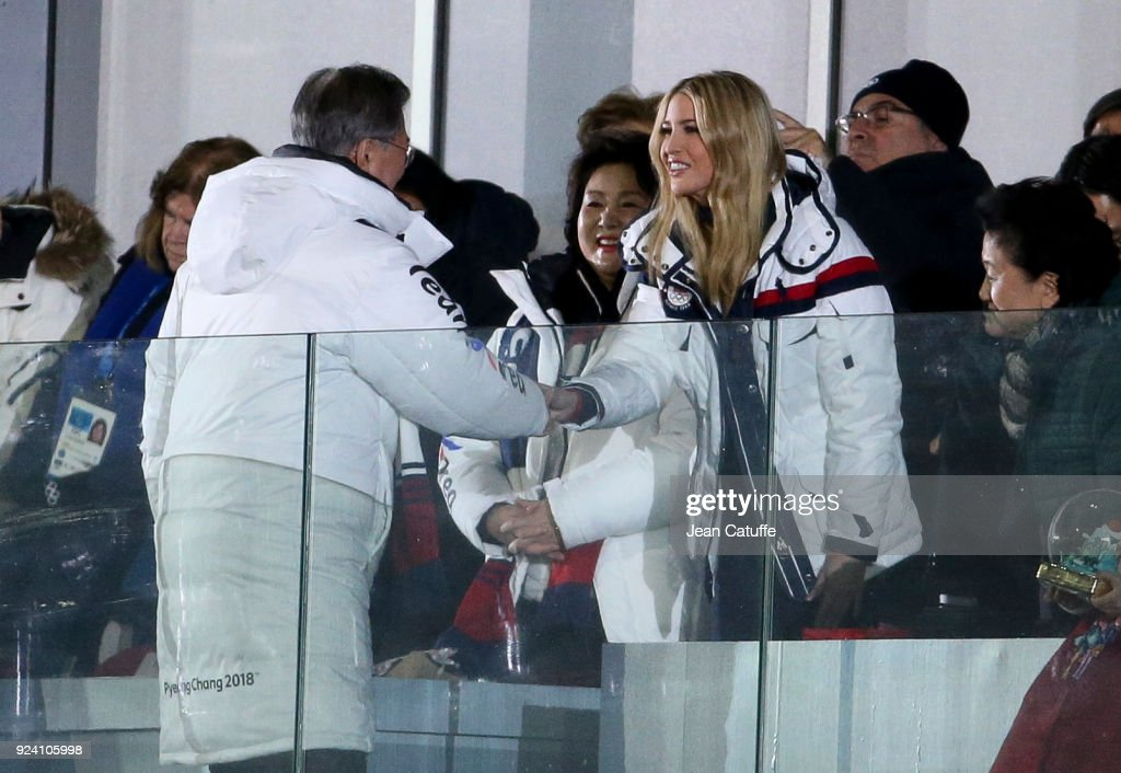 President of South Korea Moon Jae-in salutes Ivanka Trump while his wife Kim Jung-sook (center) looks on at the beginning of the closing ceremony of the 2018 PyeongChang Winter Olympic Games at PyeongChang Olympic Stadium on February 25, 2018 in Pyeongchang-gun, South Korea.