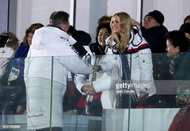 President of South Korea Moon Jaein salutes Ivanka Trump while his wife Kim Jungsook looks on at the beginning of the closing ceremony of the 2018...