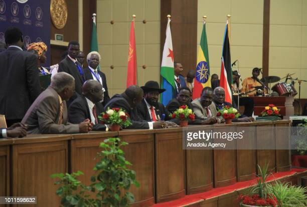 President of South Sudan Salva Kiir Mayardit and opposition leader of South Sudan Riek Machar attend a signing ceremony of agreement between South...