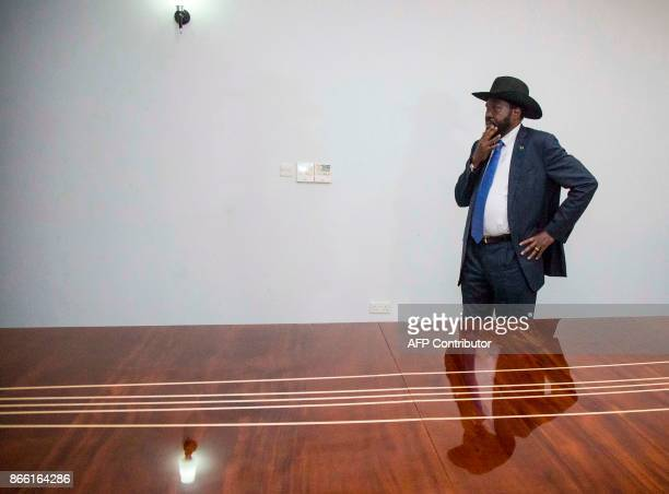 President of South Sudan Salva Kiir waits for the arrival of US Ambassador to the United Nations Nikki Haley ahead of a meeting at The President's...