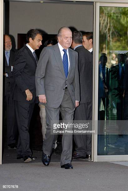 President of Spain Jose Luis Rodriguez Zapatero and King Juan Carlos leave the chapel of rest on November 4 2009 in Madrid Spain