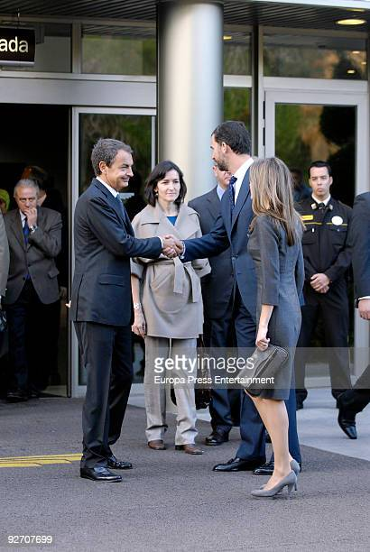 President of Spain Jose Luis Rodriguez Zapatero Minister of Culture Angeles Gonzalez Sinde Prince Felipe and Princess Letizia are pictured at the...