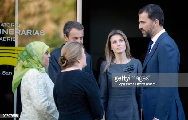 President of Spain Jose Luis Rodriguez Zapatero Prince Felipe and Princess Letizia offer Francisco Ayala's relatives their condolences on November 4...