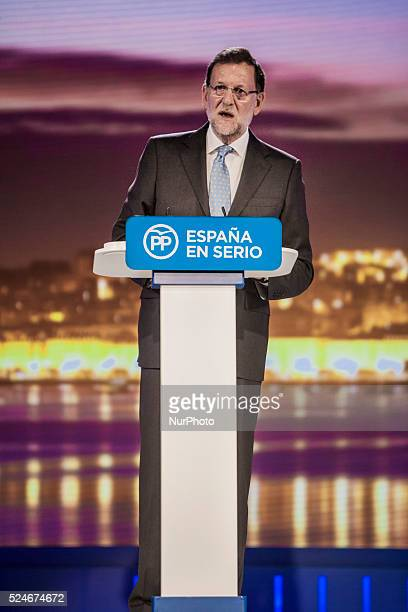 President of Spain Mariano Rajoy gives a speech in the Festival Palace of Santander on 15th December 2105 during the general elections campaign in...