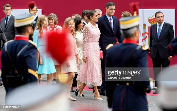 President of Spain Pedro Sanchez, Queen Letizia of Spain, Princess Leonor and Princess Sofia attend the National Day Military Parade on October 12,...