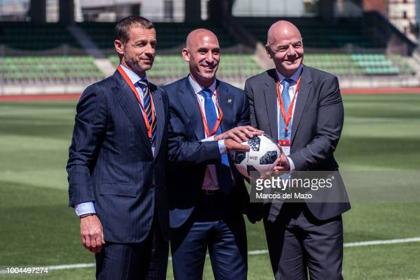 President of Spanish Football Federation Luis Rubiales FIFA president Gianni Infantino and UEFA president Aleksander Ceferin posing for press during...
