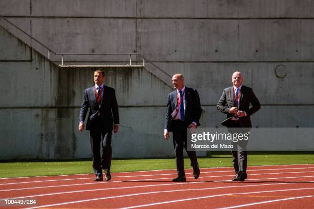 President of Spanish Football Federation Luis Rubiales with FIFA president Gianni Infantino and UEFA president Aleksander Ceferin heading to the...