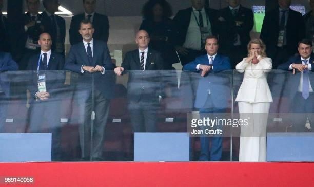 President of Spanish Football Federation RFEF Luis Rubiales, King Felipe VI of Spain celebrates the goal of Spain, FIFA President Gianni Infantino,...