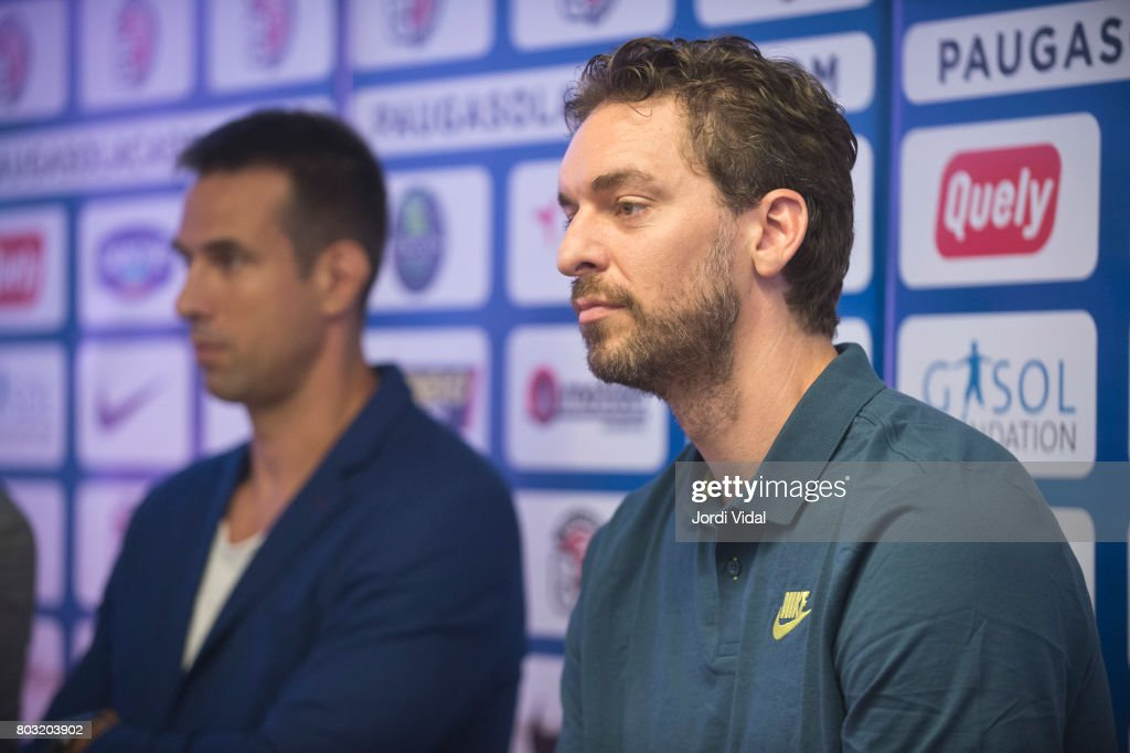 President of Special Olympics Catalunya Sergi Grimau and San Antonio Spurs player Pau Gasol attend the press during the presentation of Pau Gasol Academy 2017 at Cafe NBA on June 29, 2017 in Barcelona, Spain.