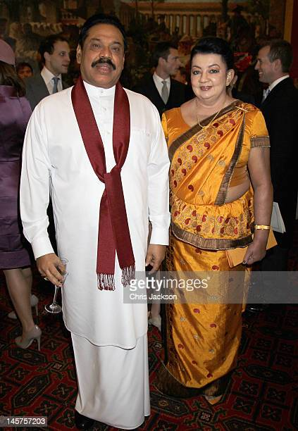 President of Sri Lanka Mahinda Rajapaksa and his wife Shiranthi Rajapaksa attend a reception at Guildhall on June 5, 2012 in London, England. For...