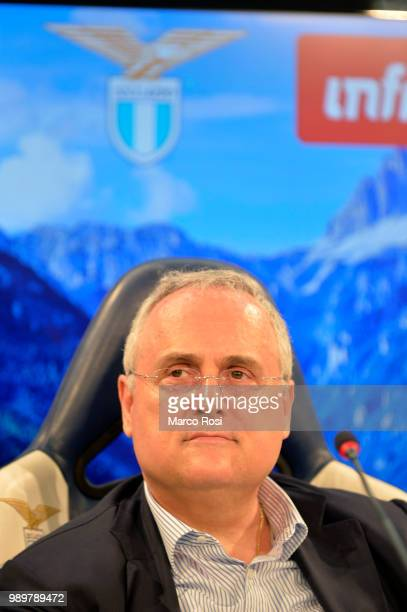 President of SS Lazio Claudio Lotito attend a press conference during the training camp in Auronzo di Cadore on July 2 2018 in Rome Italy
