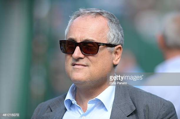 President of SS Lazio Claudio Lotito looks on during the preseason friendly match between SS Lazio and Vicenza Calcio on July 18 2015 in Auronzo near...