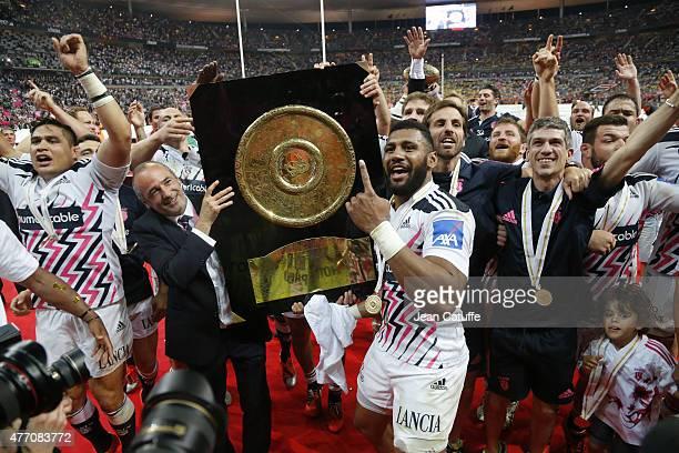 President of Stade Francais Thomas Savare Krisnan Inu Gonzalo Quesada of Stade Francais Paris celebrate winning the Bouclier de Brennus Trophy after...