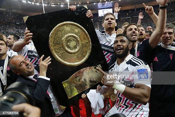 President of Stade Francais Thomas Savare Pascal Pape Krisnan Inu Gonzalo Quesada of Stade Francais Paris celebrate winning the Bouclier de Brennus...