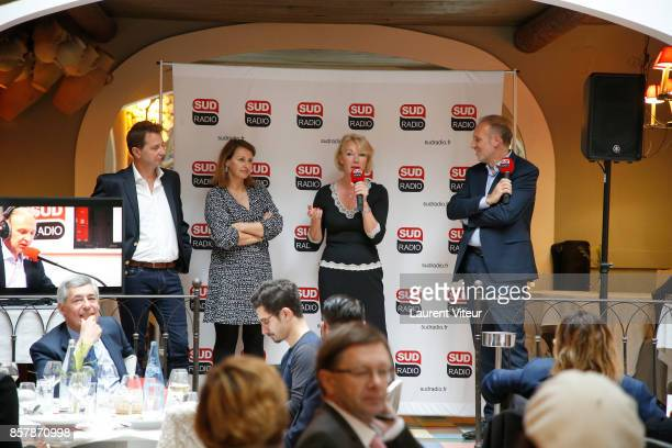 President of Sud Radio Didier Maisto Sophie Gaillard Brigitte Lahaie and Patrick Roger attend Sud Radio Press Conference at Brasserie Le Sud on...