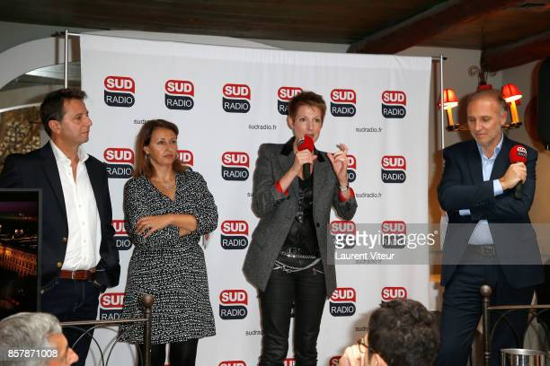 President of Sud Radio Didier Maisto Sophie Gaillard Natacha Polony and Patrick Roger attend 'Sud Radio' Press Conference at Brasserie 'Le Sud' on...