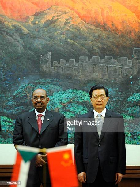 President Of Sudan Omar alBashir and Chinese President Hu Jintao attend the signing ceremony at the Great Hall of the People on June 29 2011 in...