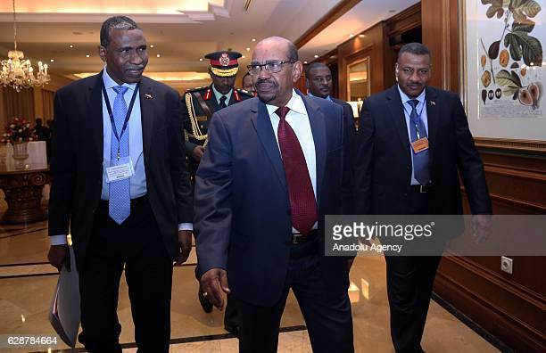 President of Sudan Omar al-Bashir leaves the hotel after the end of the session during the 29th Intergovernmental Authority on Development summit in...