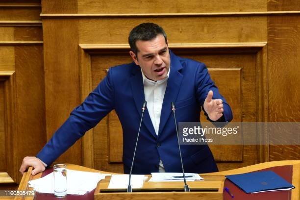President of Syriza and head of the opposition in Hellenic parliament, Alexis Tsipras, during his speech in Hellenic parliament.