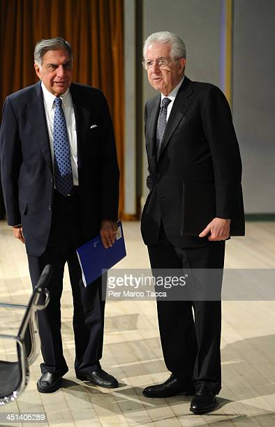 President of Tata Group Ratan Tata and Former Prime Minister of Italy Mario Monti attend Lecito Inauguralis at Bocconi University on November 22 2013...