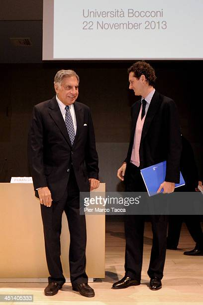 President of Tata Group Ratan Tata and President of FIAT Group John Elkann attends Lecito Inauguralis at Bocconi University on November 22 2013 in...