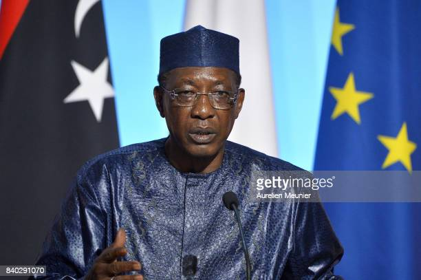 President of Tchad Idriss Deby Itno reacts during a press conference after the multinational meeting at Elysee Palace on August 28 2017 in Paris...