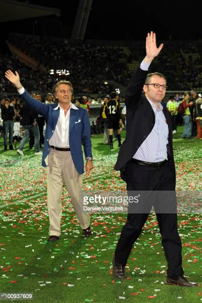 President of Telethon Luca Cordero di Montezemolo and Stefano Domenicali attend the XIX Partita Del Cuore charity football game at on May 25 2010 in...