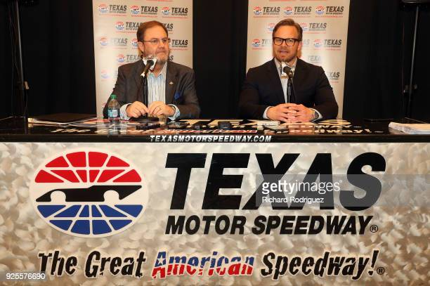President of Texas Motor Speedway Eddie Gossage and Marcus Smith COO of Speedway Motorsports answer questions from the media during Media Day at...