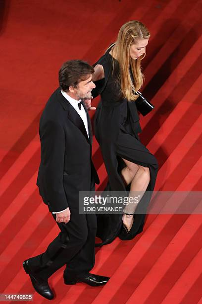President of the 65th Cannes Film Festival jury Nanni Moretti and Chiara Palmieri arrive for the screening of Paradies Liebe presented in competition...