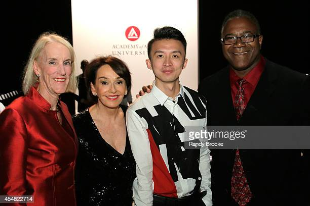 President of the Academy of Art University Elisa Stephens and Jamie Williams attend the Academy Of Art University Spring 2015 Collections during...