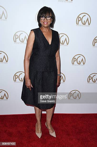 President of the Academy of Motion Picture Arts and Sciences Cheryl Boone Isaacs attends the 27th Annual Producers Guild Awards at the Hyatt Regency...