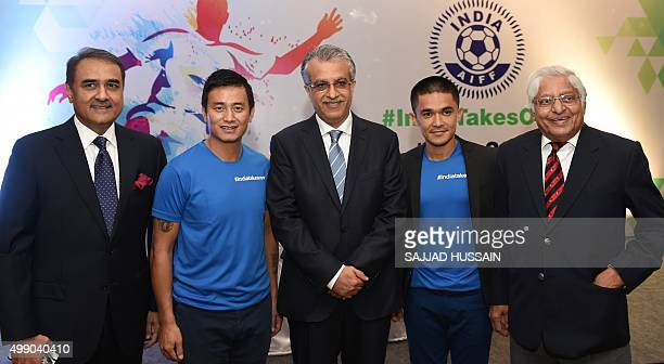 President of the All India Football Federation Praful Patel former national team captain Baichung Bhutia the President of the Asian Football...