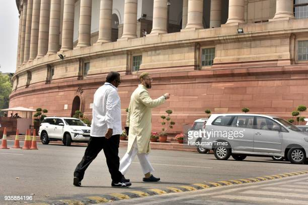 President of the All India MajliseIttehadul Muslimeen and member of Parliament Asaduddin Owaisi arrives to attend Budget Session of Parliament on...