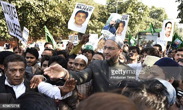 President of the All India MajliseIttehadul Muslimeen Asaduddin Owaisi during a protest march and dharna against Delhi Police at Jantar Mantar on...
