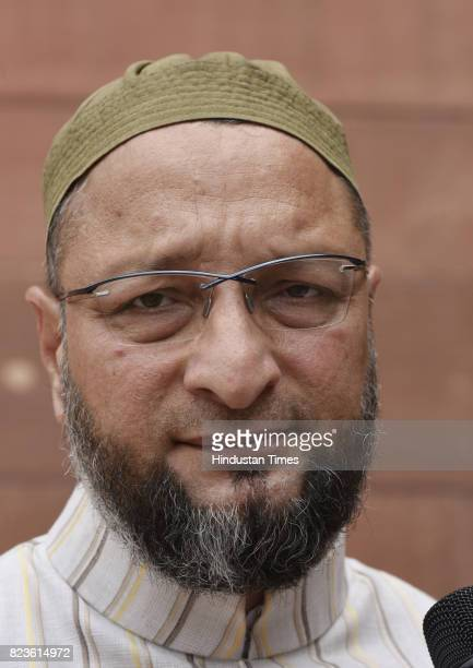 President of the All India MajliseIttehadul Muslimeen Asaduddin Owaisi at the Parliament during the Monsoon Session on July 27 2017 in New Delhi India