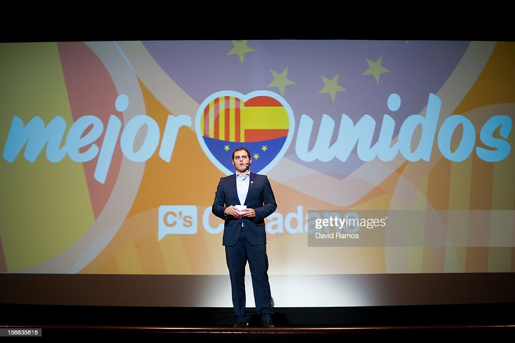 President of the Anti-separatist political party Citizens Albert Rivera speaks during the closing rally on November 22, 2012 in Barcelona, Spain. Over 5 million Catalans will be voting in Parliamentary elections on November 25, with opinion polls showing majority support for pro-independence parties.