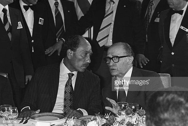 President of the Arab Republic of Egypt Anwar elSadat and Israeli Prime Minister Menachem Begin at a dinner at the King David Hotel on Nov 20th 1977...