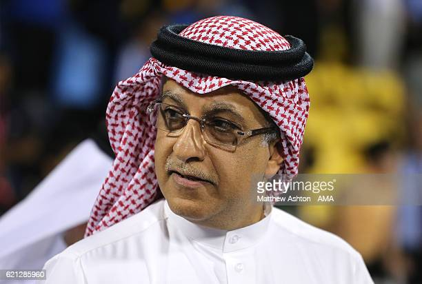 President of the Asian Football Confederation Shaikh Salman bin Ibrahim Al Khalifa looks on during the AFC Cup Final match between JSW Bengaluru and...