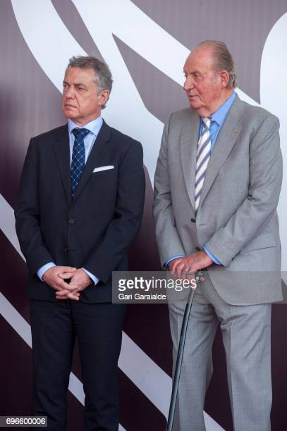 President of the Basque regional government Inigo Urkullu and King Juan Carlos attend Macan Winery inauguration on June 16 2017 in Alava Spain