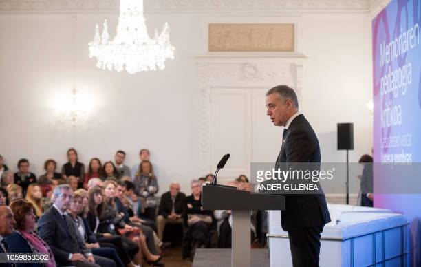 President of the Basque regional government Inigo Urkullu speaks during an event called by the Institute for Remembrance Coexistence and Human Rights...