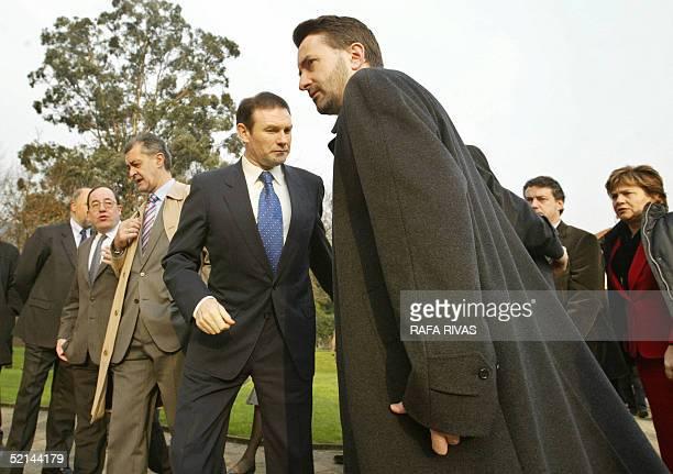 President of the Basque regional government Juan Jose Ibarretxe and ruling Basque Nationalist Party president Josu Jon Imaz arrive at the Casa de...