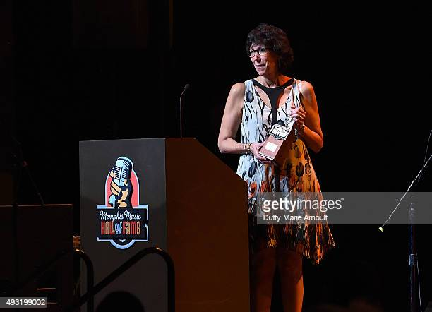 President of the Blues Foundation Barbara Newman presents the induction award for Memphis Slim during the Memphis Music Hall of Fame Induction...
