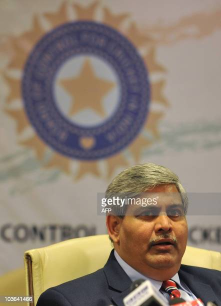 President of the Board of Control for Cricket in India Shashank Manohar speaks during a news conference at the BCCI headquarters in Mumbai on July 3...