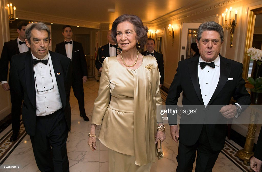 President of the British Spanish Society, Jimmy Burns, Queen Sofia and Ambassador of Spain in the UK, Ferederico Trillo arrive at a gala commemorating the centenary of the British - Spanish Society, at the Dorchester Hotel, on April 20, 2016 in London, England.